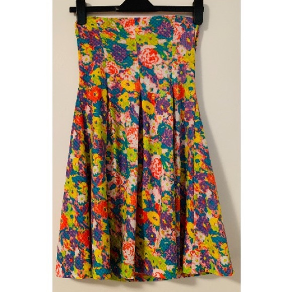 Cooperative Dresses & Skirts - Cooperative Dress M Neon Floral Print Strapless